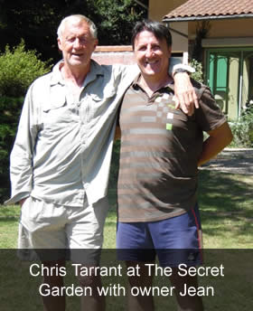 Chris Tarrant at The Secret Garden with owner Jean
